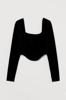 H&M Long-sleeved Short Top - Black