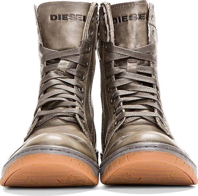 Diesel Grey Leather Basket Butch Boots