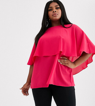 Simply Be ruffle overlay tunic blouse in raspberry-Pink