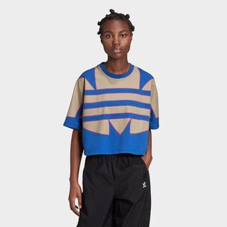 adidas Women's Adicolor Large Trefoil Logo Crop T-Shirt