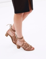 Lola Suede Lace-Up Block Heels