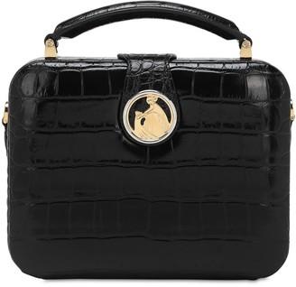 Lanvin Bento Box Croc Embossed Leather Bag