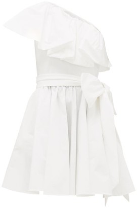 Valentino Ruffled One-shoulder Cotton-blend Mini Dress - Womens - White