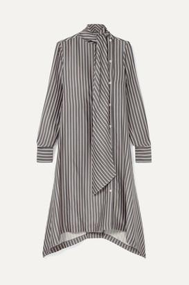 See by Chloe Asymmetric Pussy-bow Striped Crepe De Chine Midi Dress - Gray