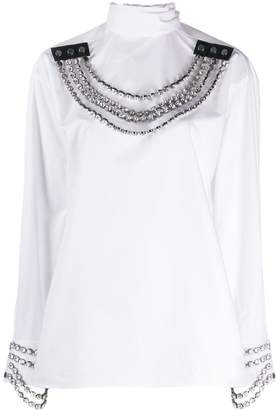 Christopher Kane crystal chain necklace blouse