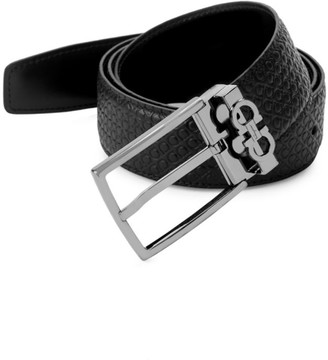 Salvatore Ferragamo Gancini Reversible Embossed/Smooth Leather Belt