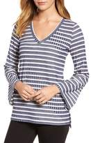 Chaus Bell Sleeve Stripe Top
