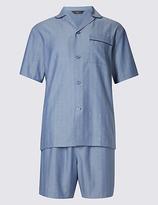 M&s Collection Pure Cotton Herringbone Short Pyjamas