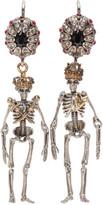 Alexander McQueen Silver Queen and King Skeleton Earrings