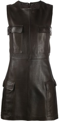 Versace Pre-Owned Leather Fitted Dress