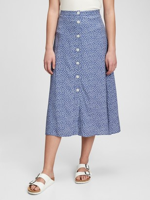 Gap Button-Front Midi Skirt