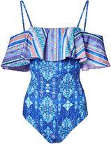 Matthew Williamson Blue Inca Jewel Off-The-Shoulder Ruffle Swimsuit
