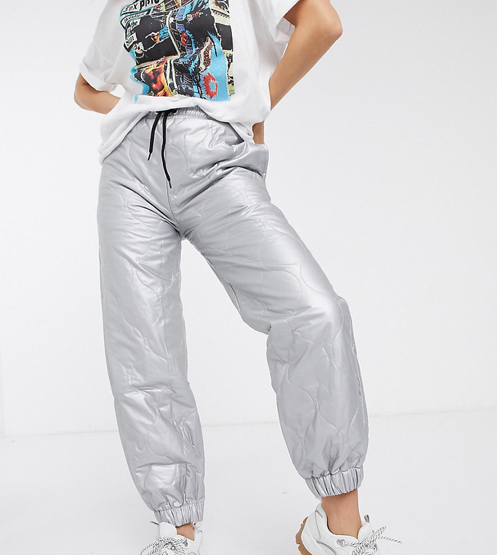 Reclaimed Vintage inspired quilted jogger in silver