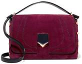 Jimmy Choo Lockett Leather-paneled Suede Shoulder Bag - Burgundy