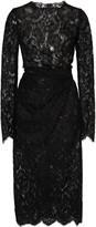 Dolce & Gabbana Gathered Guipure Lace Midi Dress