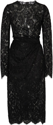 Dolce & Gabbana Gathered Guipure Lace Midi Dress