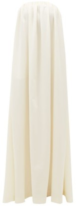 Sara Battaglia Bow-embellished Strapless Wool-blend Gown - White