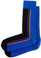 Jonathan Adler Side-Stripe Knit Socks, Royal/Black