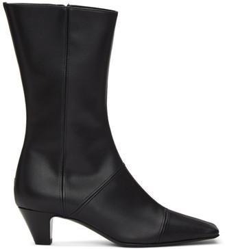Kwaidan Editions Black Faux Leather Square Toe Boot