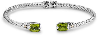 Samuel B. 18K & Sterling Silver 3.20 Ct. Tw. Peridot Twisted Cable Bangle Bracelet
