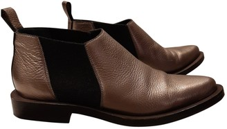 Brunello Cucinelli Gold Leather Ankle boots