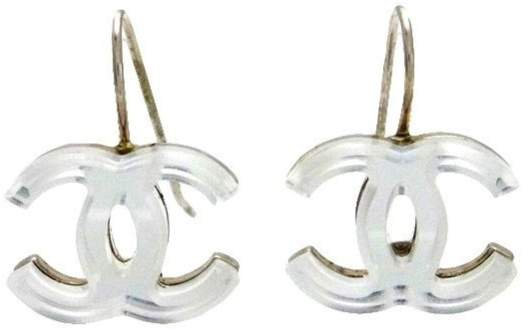 Chanel CC Logo Silver Tone Metal Mirror Dangle Stud Earrings