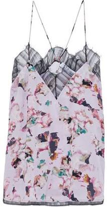 IRO Flowa Lace-trimmed Floral-print Crepe De Chine Camisole