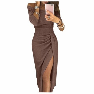 Lumemery Women Evening Off The Shoulder Dress Thigh Split Bodycon Sparkling Glitter Evening Gown Cocktail Party Midi Dress Rose Gold