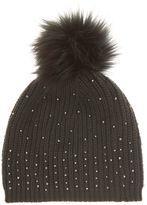 Mint Velvet Khaki Studded Pompom Hat
