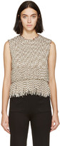 Acne Studios White and Green Woven Telma Top