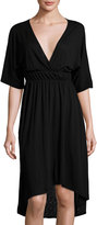 LAmade Zoe Dolman-Sleeve High-Low Dress, Black