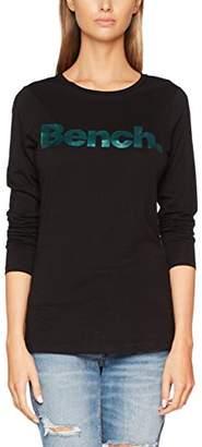Bench Women's Logo Longsleeve Long Sleeve Top, (Black Beauty Bk11179), X-Small