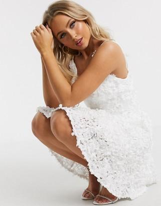 Chi Chi London 3d floral mini dress in white