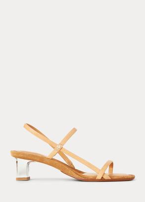 Ralph Lauren Leather Block-Heel Sandal
