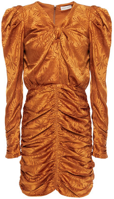 Ronny Kobo Ruched Silk-blend Satin-jacquard Mini Dress