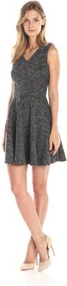 Nicole Miller Women's Staggered Stripe V Neck Flare Dress