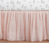 Pottery Barn Kids The Emily & Meritt Sparkle Tulle Crib Skirt, Blush