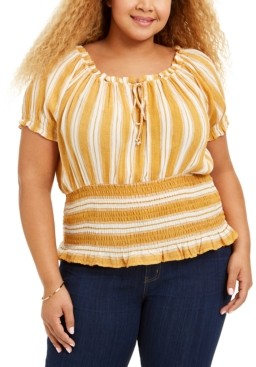 Planet Gold Trendy Plus Size Smocked Peasant Top