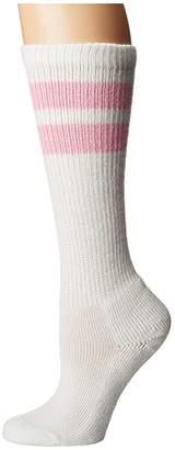 Thorlos Old School Over Calf Single Pair (White/Pink Stripes) Knee High Socks Shoes