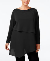 NY Collection Plus Size Asymmetrical Mixed-Media Tunic