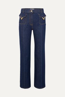 Valentino High-rise Straight-leg Jeans - Indigo
