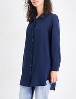 MiH Jeans Ladies Navy Nvy Traditional Oversized Silk-Crepe De Chine Shirt
