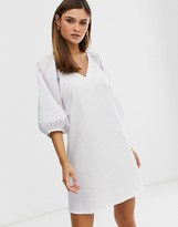 Asos Design DESIGN v neck mini dress with woven puff sleeves in white