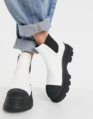 Bershka chunky sole contrast Chelsea boot in white