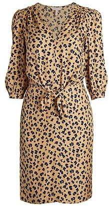 Rebecca Taylor Cheetah-Print Blouson Dress