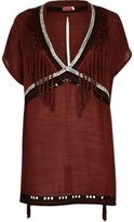 River Island Womens brown fringed cover-up caftan