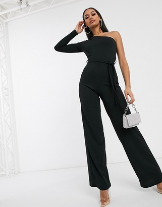 Femme Luxe one shoulder wide leg jumpsuit in black