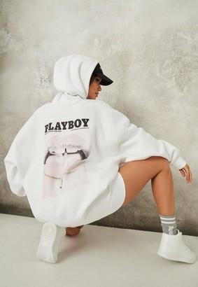 Missguided Playboy X White Magazine Print Oversized Hoodie Dress
