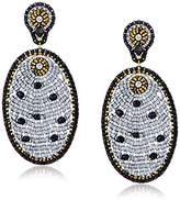 Miguel Ases Black Quartz and Swarovski Oval Drop Earrings