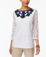 Charter Club Embroidered Lace Top, Created for Macy's